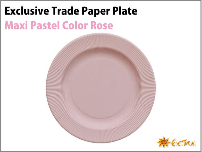 4枚入り 32cm イタリア製 Exclusive Trade おしゃれなペーパープレート(紙皿)/Plain Color Rose パステルカラー マキシ