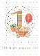 【バースデーカード 1歳 ウサギ】オランダ製Quire(クワイヤー)グリーディングカード/Mac Classic(1歳)