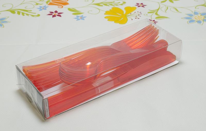 プラスチック食器 アウトドアやパーティーに大活躍!Mozaik モザイク カトラリー パック/フォーク・ナイフ・スプーンセット×6本セット【オレンジ】