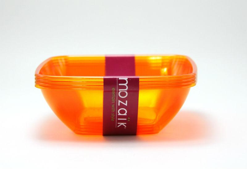 パーティーにプラスチック製 Mozaik スクウェアー スモール ボウル 14cm 4枚入り【オレンジ】