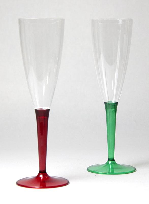 プラスチック・使い捨て シャンパングラス シャンパングラス/レッド・グリーン(各5脚)10脚セット 125ml  Mozaik