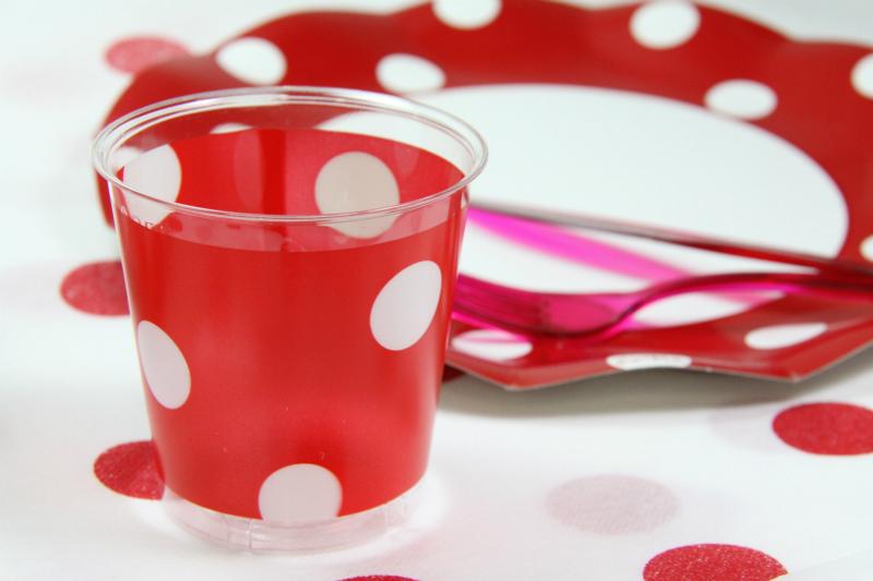 イタリア製 おしゃれなプラスチックコップ Exclusive Trade/Pois Rojo 10個入り 300ml