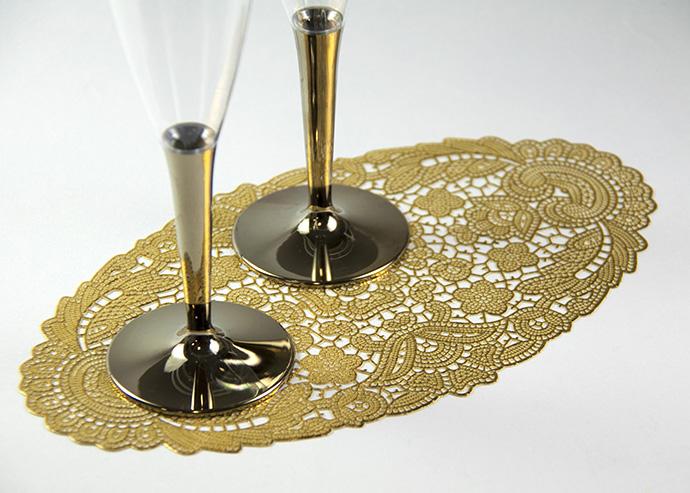 【ドイリー 花瓶敷き レース ゴールド】レース調 オーバル ドイリー ゴールド Ahm Home Material製 【6枚入り】