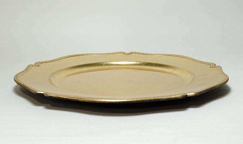 チャージャープレート(アンダープレート)フラワー ゴールド 33cm SCHON+(シェーンプラス)x4枚