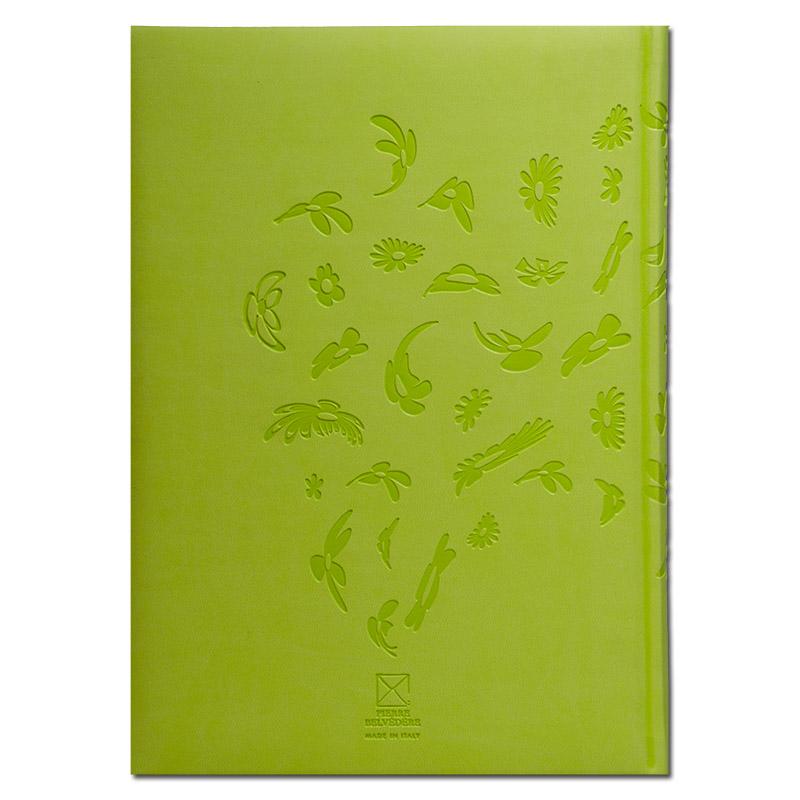 【50%OFF】イタリア製 輸入 エンボスカバーのノートブック /ブルーム シャルトルーズ Pierre Belvedere