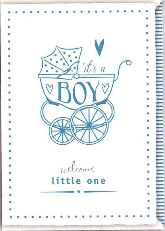 【New Baby ウェルカムボーイ ベビーカー青】オランダ製Quire(クワイヤー)/Impressive 活版印刷(レタープレス)