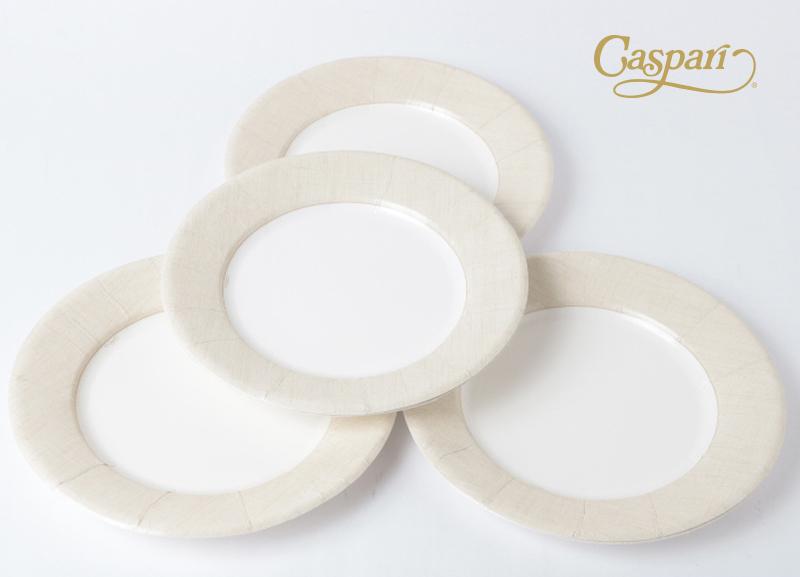 【紙皿  パーティー】Caspar ペーパープレート/リネン ナチュラル 20.5cm 8枚入り