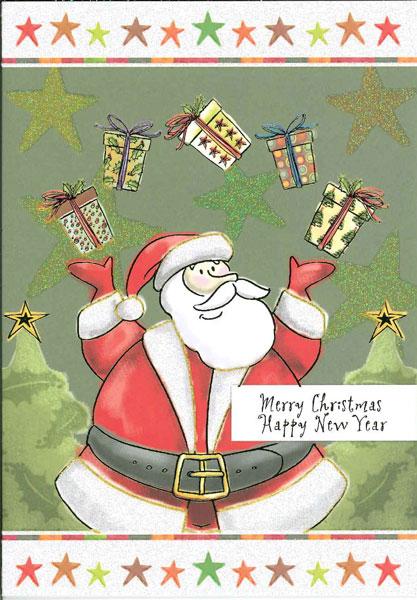 【クリスマスカード】オランダ製Quire(クワイヤー)グリーティングカード/サンタプレゼントボックス