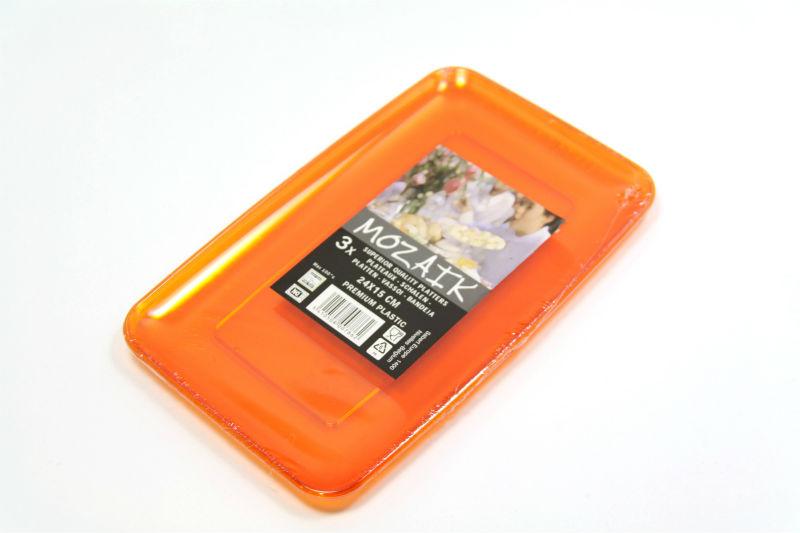 カラフル プラスチック製 長方形皿 24cm 3枚入り【オレンジ】Mozaik レクタングル プラッター