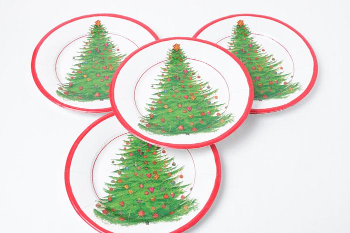 【紙皿 パーティー】Caspar クリスマス ペーパープレート/グリッタリングツリー20.3cm 8枚入り