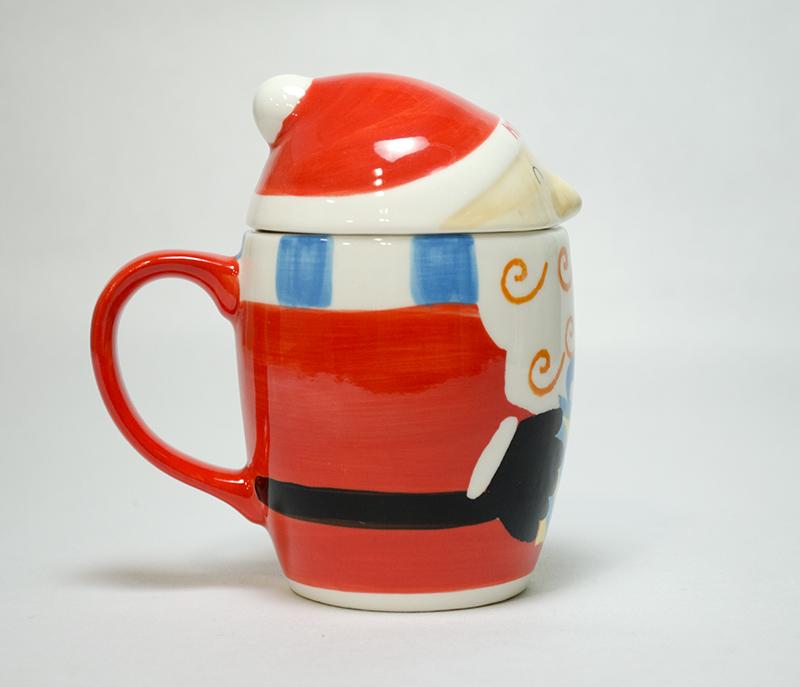 【クリスマス】かわいいサンタさんのマグカップ フタ付き 食洗機・電子レンジ使用可能