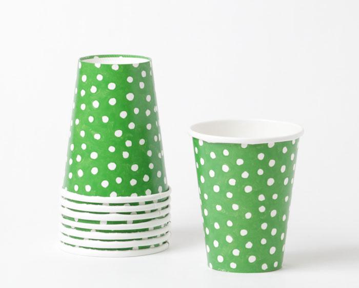 【パーティ-】Caspari かわいいペーパーカップ(紙コップ)8個入り 266ml/スモールドットグリーン