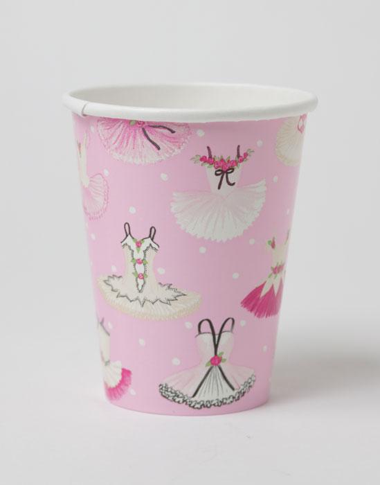 【キッズパーティ・バレエ】Caspari かわいいペーパーカップ(紙コップ)8個入り 266ml/Tutus