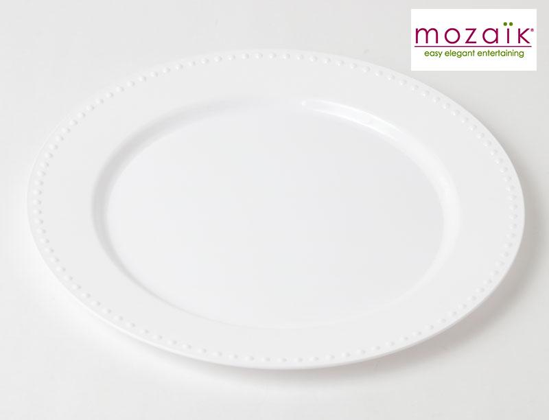 おしゃれな プラスチック製 パール プレート ホワイト 23cm【12枚入り】