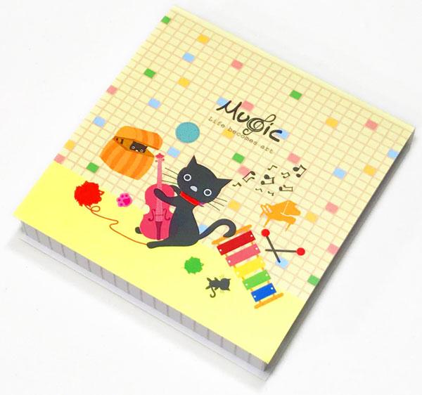 【メモ ノート 音楽 ピアノ ネコ プレゼント】Jiun Wey ミュージックミニメモパッド/Yellow【文房具 ステーショナリー】