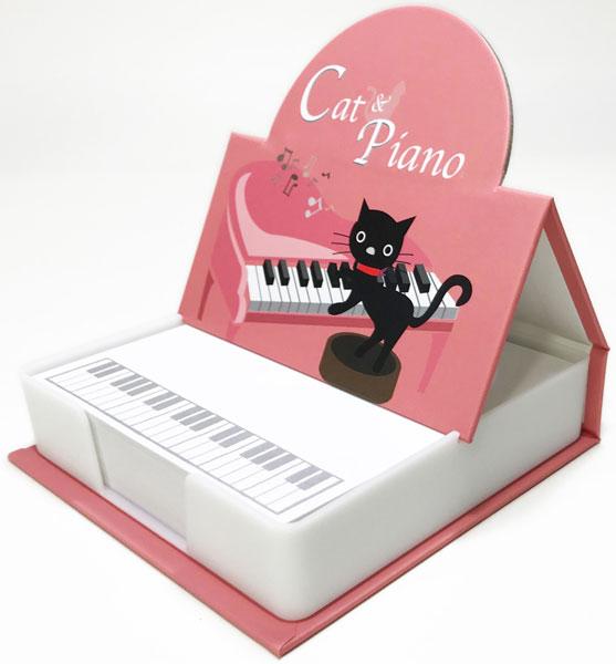 【メモ ノート 音楽 ピアノ ネコ プレゼント】Jiun Wey ミュージックプラスチックメモボックス/Pink【文房具 ステーショナリー】
