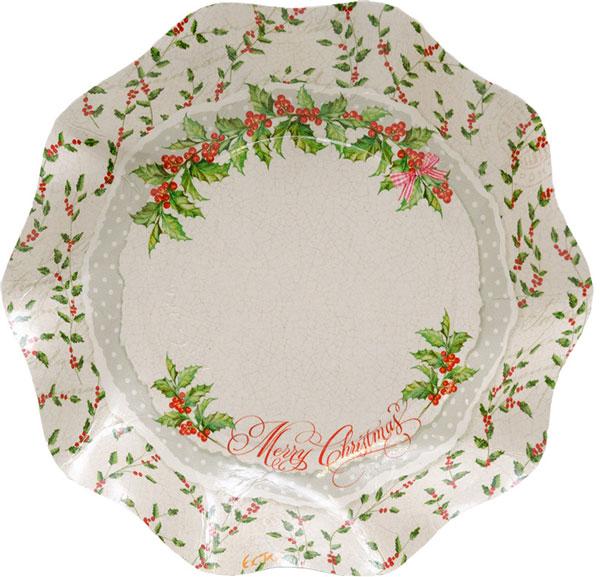 イタリア製 クリスマス柄ペーパーボウル ホーリー 5枚入り 18cm Exclusive Trade/Holly 18cm