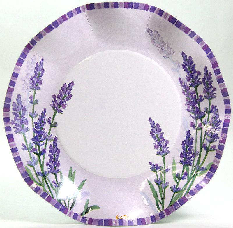 イタリア製 美しいラベンダー柄の紙皿(ペーパープレート)Exclusive Trade/Pretty Lavender 20.5cm 5枚入り