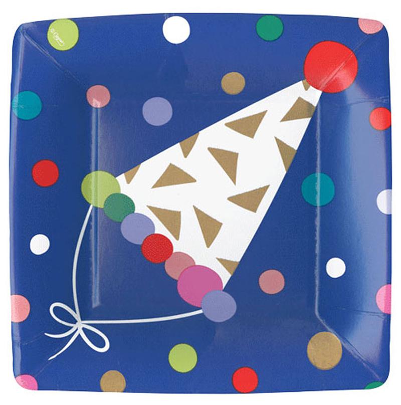 【キッズパーティ】Caspari かわいいペーパープレート(紙皿)8枚入り 20.3cm/Party Hats