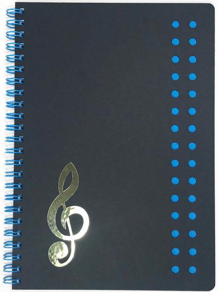 【メモ ノート 音楽 ト音記号 プレゼント】Jiun Wey ミュージックリングノートA5/Blue【文房具 ステーショナリー】