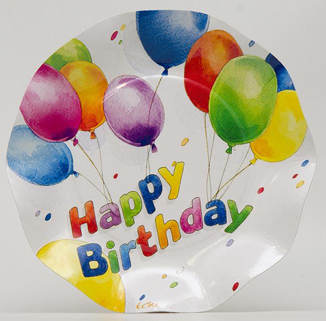 イタリア製 紙皿(ペーパープレート)Happy Birthday Exclusive Trade 20.5cm 5枚入り
