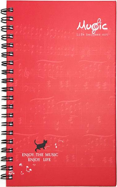【メモ ノート 音楽 ネコ 音符 プレゼント】Jiun Wey スパイラルノート/Red【文房具 ステーショナリー】