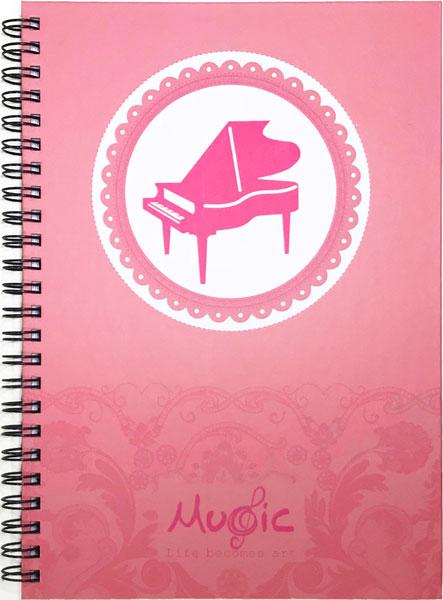 【メモ ノート 音楽 ピアノ 音符 プレゼント】Jiun Wey スパイラルノート/Pink【文房具 ステーショナリー】