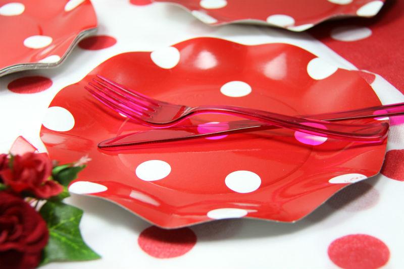 イタリア製 Exclusive Trade おしゃれなペーパープレート 20.5cm 5枚入り/ドット柄(Polis) Red