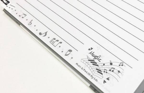 【メモ ノート 音楽 オーケストラ 音符 プレゼント】Jiun Wey スパイラルノート/Black【文房具 ステーショナリー】
