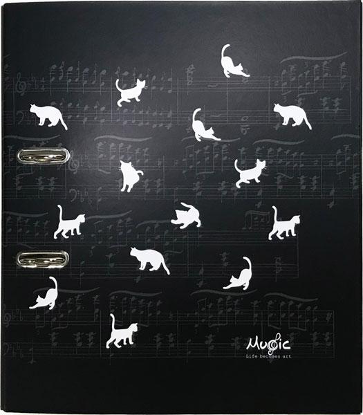 【ファイル A4 レバー式 音楽 ピアノ ネコ 音符 プレゼント】Jiun Wey A4 Two Holes File/Cat【文房具 ステーショナリー 2穴】