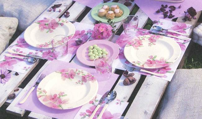 イタリア製 おしゃれなプラスチックコップ Exclusive Trade / Pink Flowers 8個入り 300ml