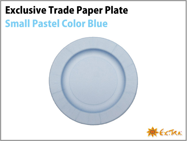 8枚入り 20cm イタリア製 Exclusive Trade おしゃれなペーパープレート(紙皿)/無地(Plain Color) /Blue パステルカラー スモール