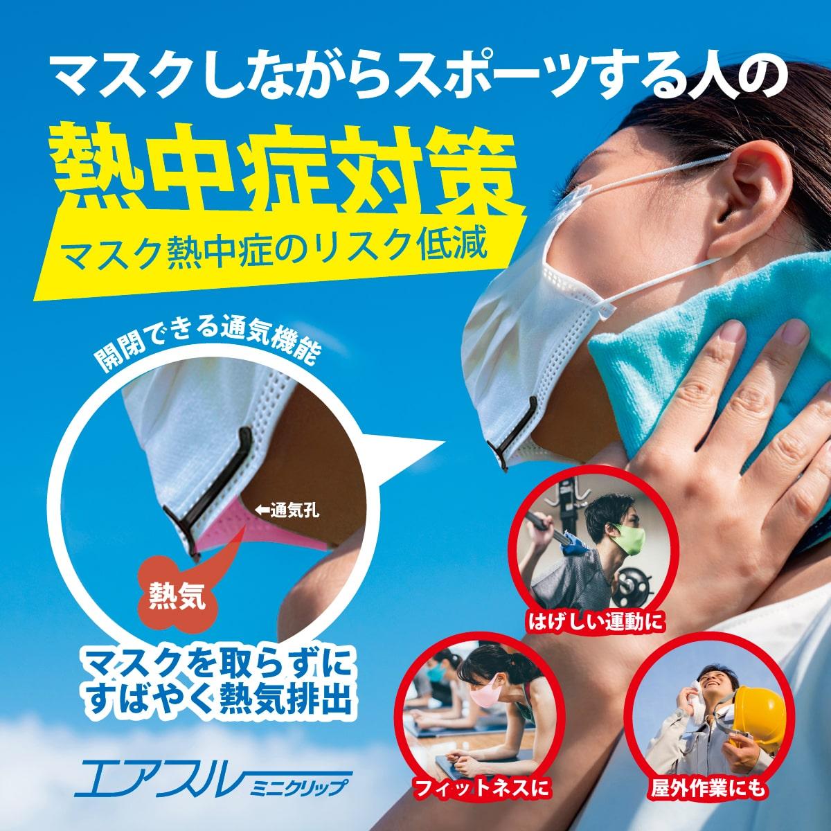 マスク内の空気を入れ替える 「エアスルーミニクリップ」