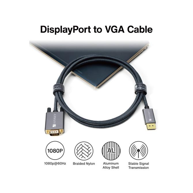 ディスプレイポート to VGAケーブル【2m】【iVanky】【VBC71】【Gray&Black】【SG】