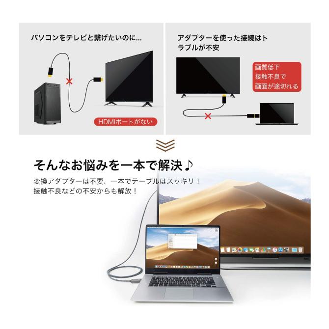ディスプレイポート to HDMI ケーブル【1m】【iVanky】【VBC65】【SG】