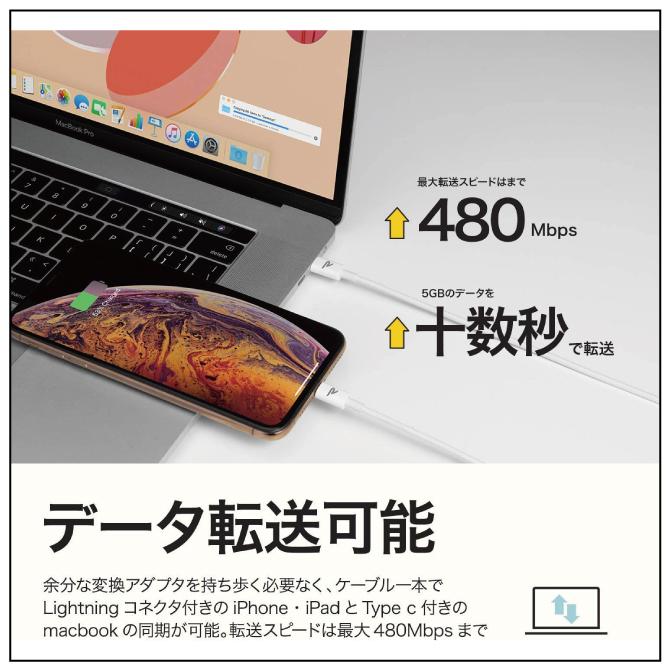 Apple MFi認証取得 / 急速充電&同期ができるType-C to Lightningケーブル【2m】【White】【RAMPOW】【RAE02】【SG】