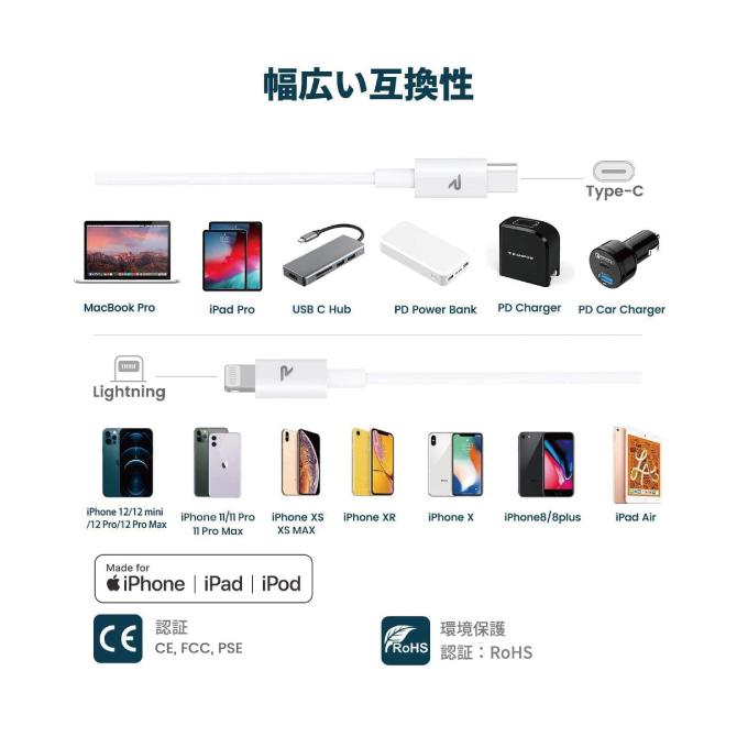 Apple MFi認証取得 / 急速充電&同期ができる Type-C to Lightningケーブル【20cm】【RAE04】【White】【RAMPOW】【SG】