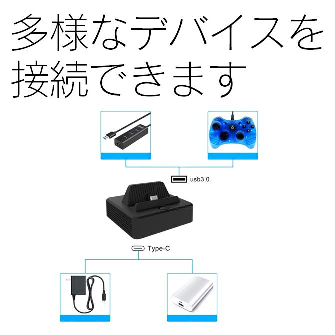 【 ニンテンドースイッチ 】 ドック型HDMI変換アダプター HDMI+USB+Type-C 変換器 コンバーター【 送料無料 】