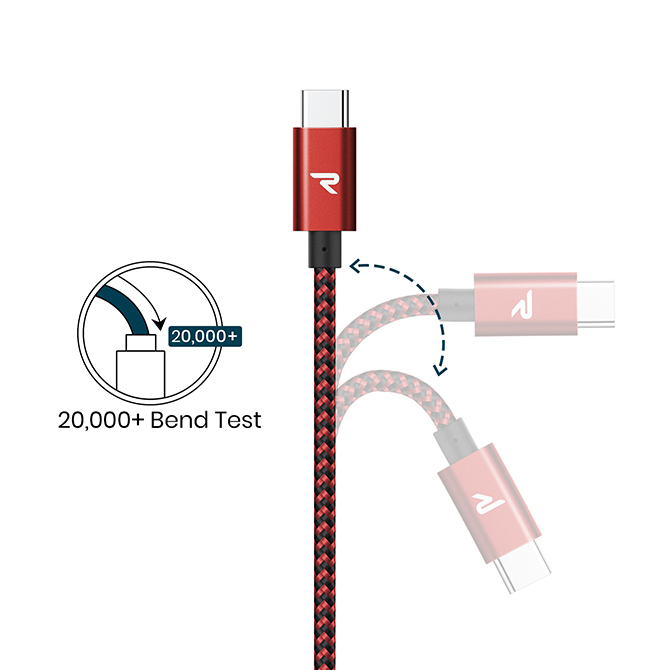Red & Black Type-C to Type-C Cable 2.0 60W【2m】【RAMPOW】【RAD09】【SG】