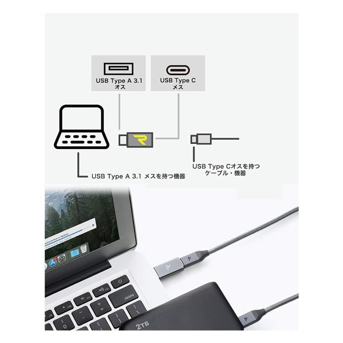 USB Type C (メス) to USB 3.0 (オス) アダプター【Space Grey】【RAMPOW】【RCA01】【SG】