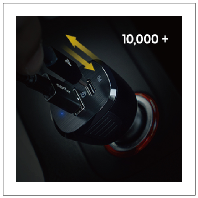 LEDライト付き 37.5W対応 2ポートカーチャージャー【RAMPOW】【RBB02】【Black】【SG】