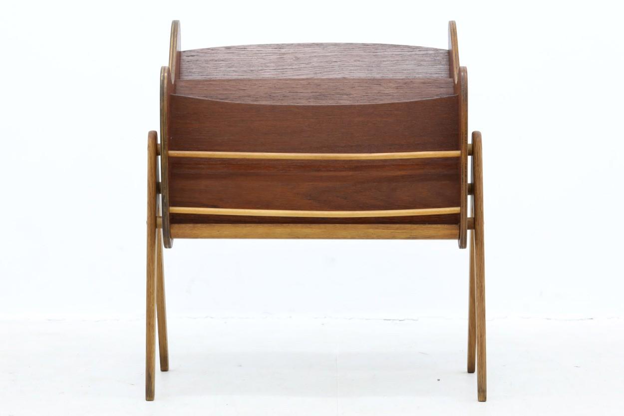 デンマーク製 お洒落な形のマガジンラック チーク×オーク材 北欧家具ビンテージ/DK10612