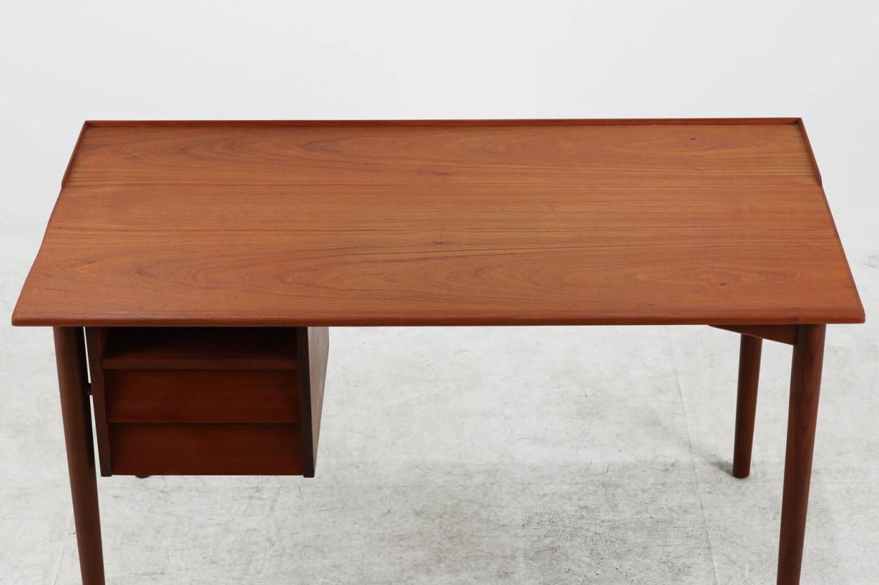 デンマーク製 片袖デスク チーク材 北欧家具ビンテージ/DK11241