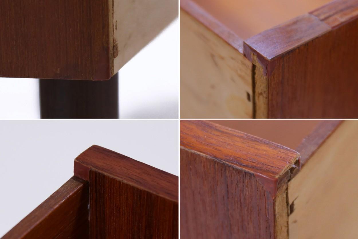 デンマーク製 チェスト3段 棚付き チーク材 北欧家具ビンテージ/DK10906