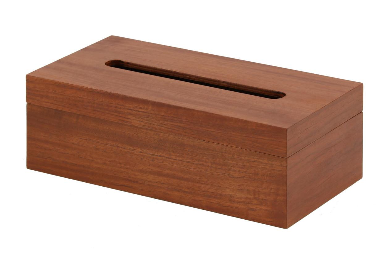 CHLOROS(クロロス) チーク材天然木のシンプルなボックスティッシュケース スタンダードタイプ