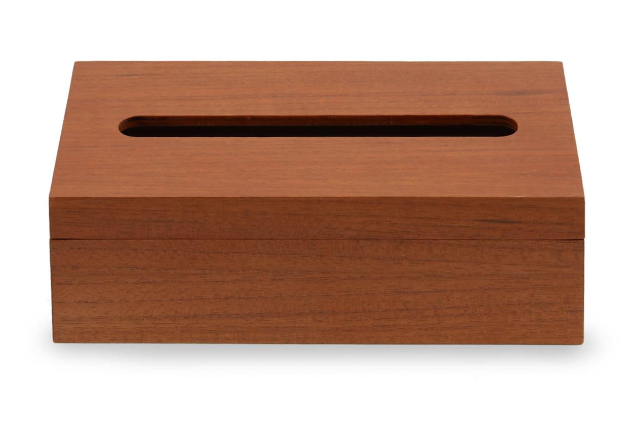 CHLOROS(クロロス) チーク材天然木のシンプルなボックスティッシュケース コンパクトタイプ
