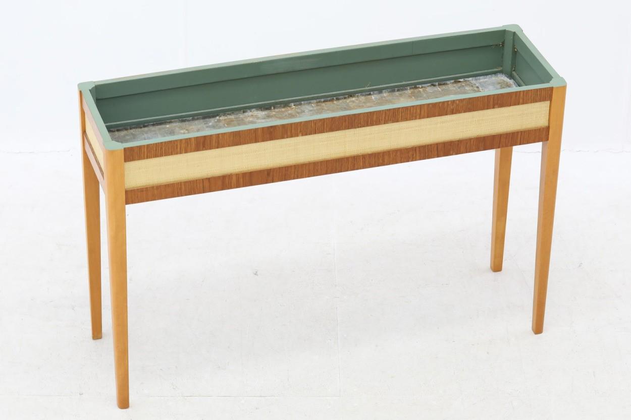 スウェーデン製 チーク×ビーチ材 幅が広めのプランター 北欧家具ビンテージ/DK10571