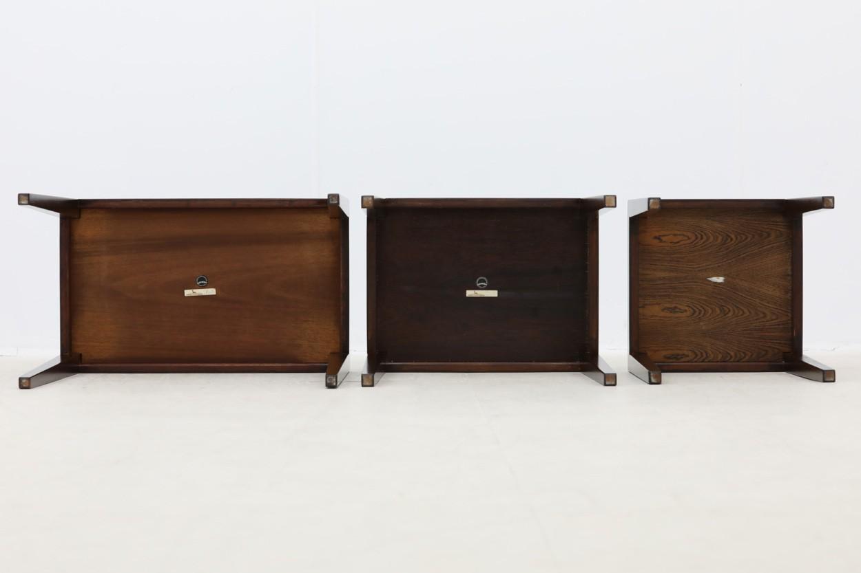 Royal Copenhagen×Haslev タイルトップ ネストテーブル マホガニー材 デンマーク製 北欧家具ビンテージ/DK10605