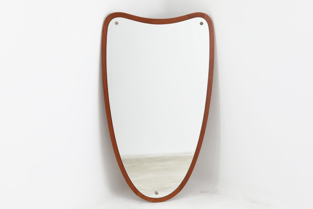 デンマーク製 ハート型のチーク材ミラー 壁掛け/立掛け 高さ72cm 北欧ビンテージ家具/DK10554