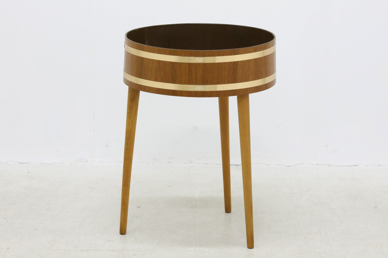 デンマーク製 チーク材×ビーチ材 円形プランター 北欧家具ビンテージ/DK10663